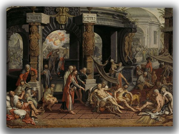 Aertsen, Pieter: The Healing of the Paralytic, Pool of Bethesda. Fine Art Canvas. Sizes: A4/A3/A2/A1 (004031)